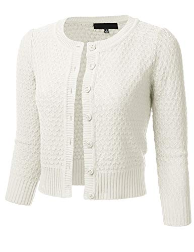 Women's Button Down 3/4 Sleeve Crew Neck Cotton Knit Cropped Cardigan Sweater Ivory 2X