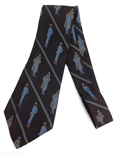 Dapper Flapper Tie - Vintage Jacquard Weave Wide Kipper Necktie - Brown Blue (Roaring Twenties Mens Fashion)