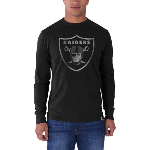 NFL Oakland Raiders Men's '47 Brand Long Sleeve Flanker Tee, Jet Black, X-Large