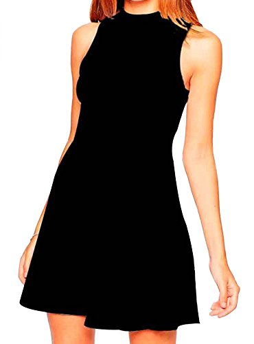 Face N Face Women's Chiffon High Neck Sleeveless Empire Mini Dress Large Black