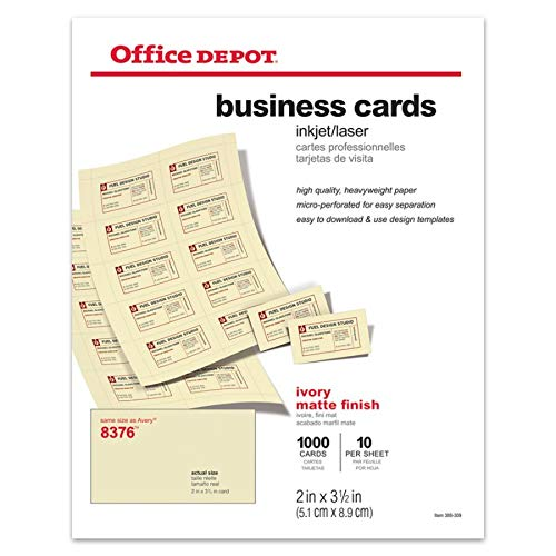 (Office Depot Matte Business Cards, 2in. x 3 1/2in, Ivory, Pack of 1,000,)