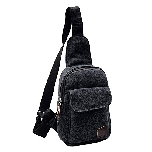 TOOGOO(R) Tracolla casuale dellannata delle piccole tela di canapa degli uomini che escono il sacchetto del messaggero del sacchetto della bicicletta di Crossbody del sacchetto-caffe Nero