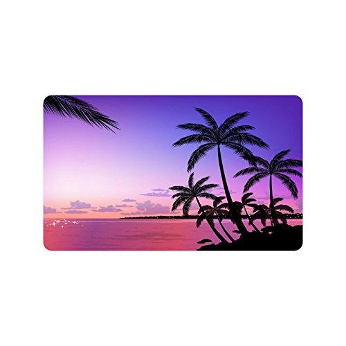 Tropical Paradise Beach with Palm Trees Custom Doormat Entrance Mat Floor Mat Rug Indoor/Outdoor/Front Door/Bathroom Mats Rubber Non Slip Size 30 x 18 inches