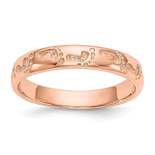 Jewel Tie Size 9-14k Rose Gold Footprints Ring (4mm)