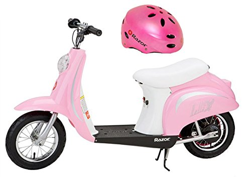 (Razor Pocket Mod Bella 24V Electric Girl Scooter and Pink Youth Safety Helmet)