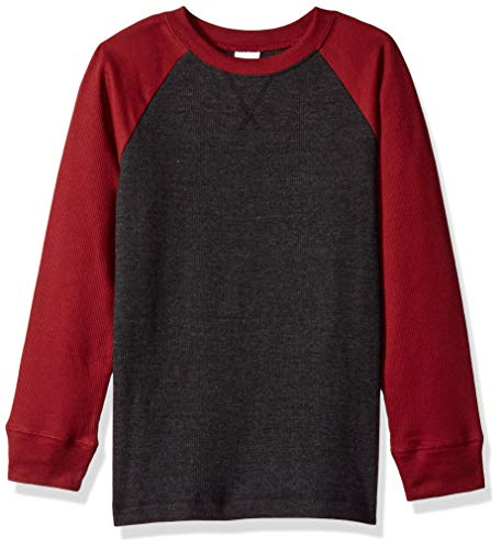 Crazy 8 Boys' Big Long Sleeve Waffle Knit Thermal Top, Cherry red, M