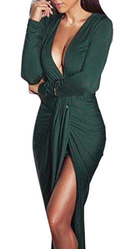 Confortables Femmes Col V Plissée Découpé Mi-longueur Du Club Sexy Solide Robe Verte