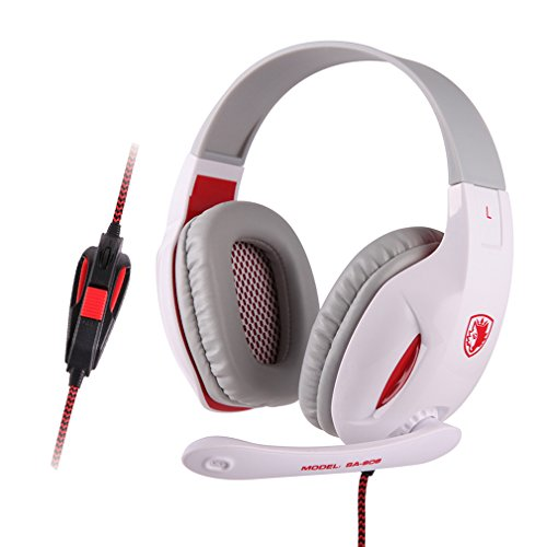 Sound Intone SA-808 LED Light Stretching Headphones Headsets Over-Ear Professional Studio Monitor Precision Headphones Earphones with Microphone and Volume Control for PC Computer Laptop Notebook Game (white)