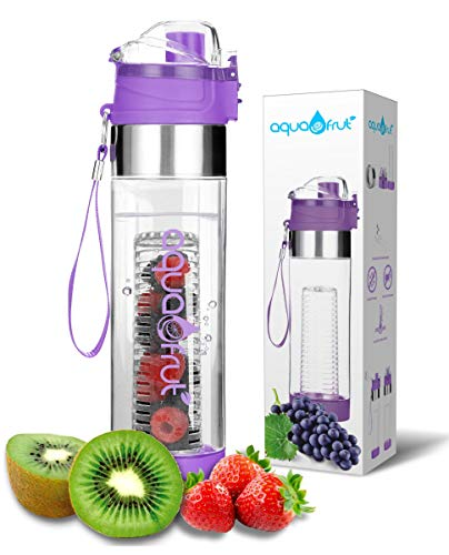 Bottom Loading Fruit Infuser Water Bottle (OneClick Open Lid) - BPA Free Tritan Plastic - Leak Proof - 24oz - Infusion Recipe eBook Included (Purple)