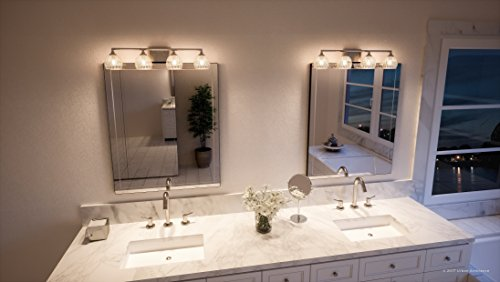Luxury Crystal LED Bathroom Vanity Light, Large Size: 6.25''H x 28''W, with Classic Style Elements, Brushed Nickel Finish and Marquis Cut Glass Shades, G9 LED Technology, UQL2622 by Urban Ambiance by Urban Ambiance (Image #1)