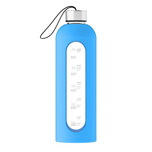 32 Oz Glass Water Bottle Leak Proof Time Marked Reusable Eco Friendly BPA Free Drink More Water Comes With Silicone Sleeve and 2 Stainless Steel Lids - ALL NEW Xtremeglas Hydrate (Blue)