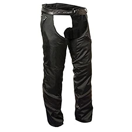 Milwaukee Mens Textile Chap with Leather Trim Detailing Milwaukee Performance MPM5705-BLK-XS Black, X-Small