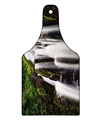 Ambesonne Heike Cutting Board, Long Exposure Image of Kentucky Falls American Waterfall Cliffs Stream Power Print, Decorative Tempered Glass Cutting and Serving Board, Wine Bottle Shape, White Brown