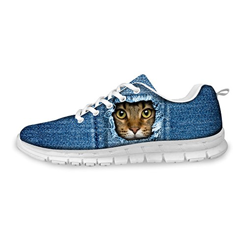 Sneaker Women's Running Blue Fashion U amp; Breathable Print Men's Shoes B2 FOR Cat Mesh Cat DESIGNS BUqw7