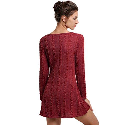 Vovotrade Las mujeres de manga larga cuello redondo vestido mini jersey de punto Rojo