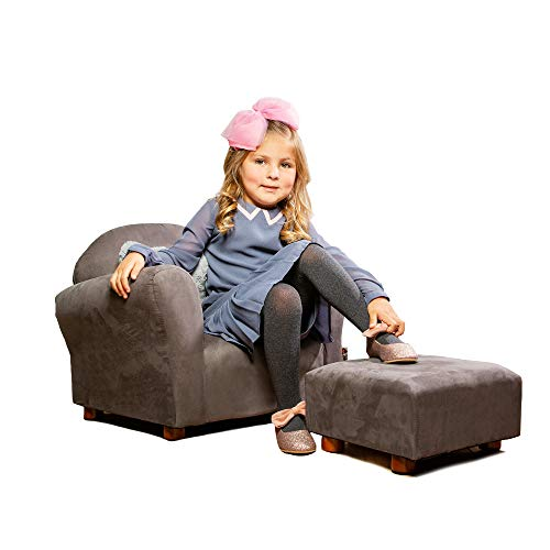 Price comparison product image Keet Roundy Childrens Chair Microsuede with Ottoman,  Charcoal