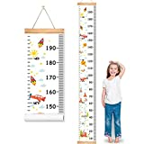 """MIBOTE Baby Growth Height Chart, Canvas and Wood Handing Removable Wall Ruler for Kids, Wall Decor (79"""" x 7.9"""", Cartoon Patterns)"""
