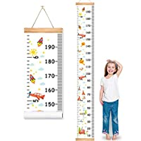 "MIBOTE Baby Growth Height Chart, Canvas and Wood Handing Removable Wall Ruler for Kids, Wall Decor (79"" x 7.9"", Cartoon Patterns)"