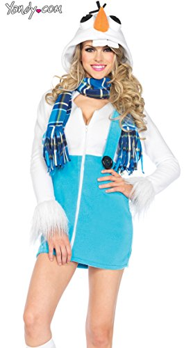 Leg Avenue Women's Cozy Snowman Costume, White, Medium - Olaf Halloween Costumes Adult