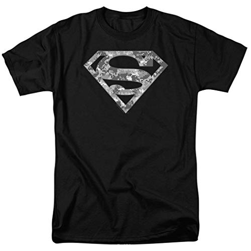 Popfunk Superman Digital Camo Logo S Shield Black T Shirt & Exclusive Stickers (X-Large) - Exclusive Black T-shirt