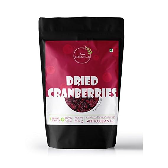 Raw Essentials Whole Dried Cranberries, 500g [Antioxidant Rich, Immunity Building]