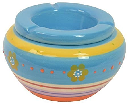 CHICCIE Bunter Keramik Aschenbecher Blumenmuster - Blau - 14cm Sturmaschenbecher