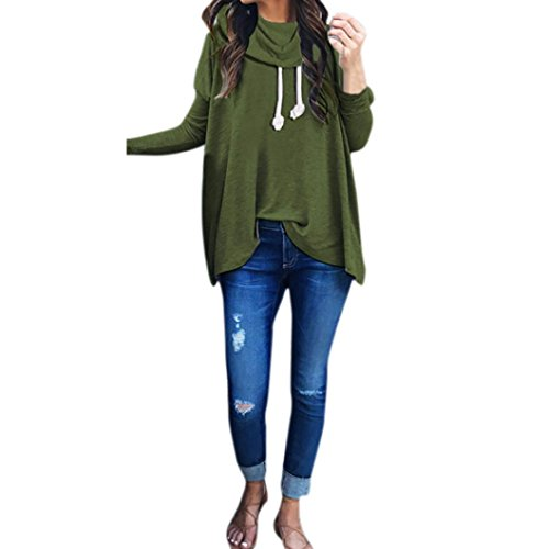 Cottage Lace (AmyDong Women's Casual Loose Blouse, Ladies Long Sleeve Scarf Collar Sweater Shirt (S, Green))