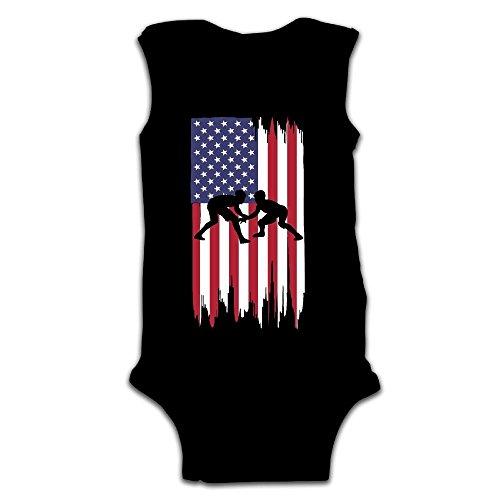 MMSSsJQ6 Wrestling American Flag Baby Newborn Crawling Suit Sleeveless Onesie Romper Jumpsuit Black by MMSSsJQ6