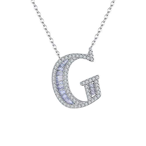 Cosol Silver Women's 925 Sterling Silver CZ White Gold Plated Letter G Minimalist Dainty Choker Pendant Necklace, Rolo Chain 16.5''