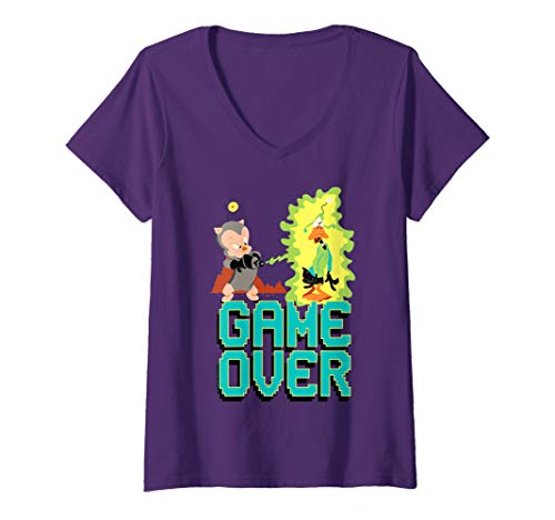 Womens Looney Tunes Porky and Daffy Game Over V-Neck T-Shirt
