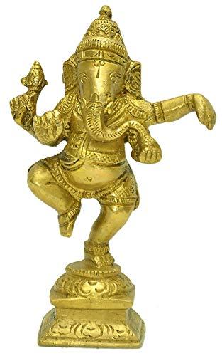 Pink-Lotus Elegant Brass Golden Finish Dancing Ganesha Statue (Gold, Standard)