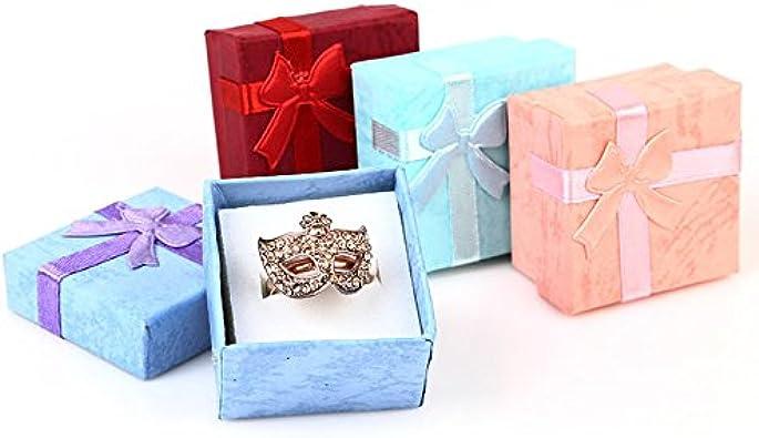 NKYSM Joyero Caja de Regalo Fila Anillo Caja Pendientes Pequeña Joyero para Collar Anillo Pendientes: Amazon.es: Joyería