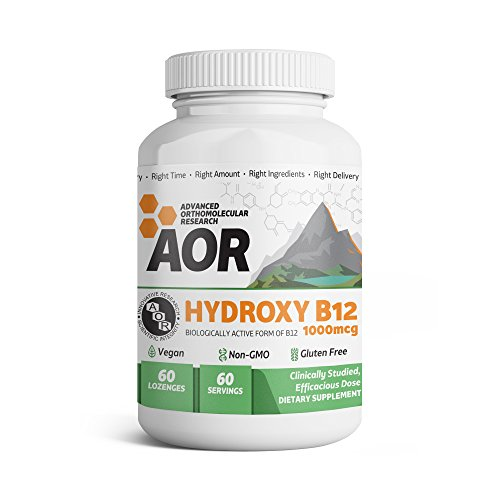 Advanced Orthomolecular Research - Hydroxy B12, Methylation Support for Brain, Nerve Health, and Detoxification with Activated B12, Vegan, Non-GMO, Gluten-Free, 60 Lozenges