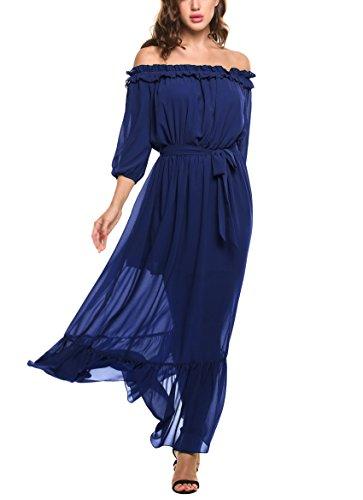 Zeagoo Women's Ruffles Off Shoulder 3/4 Sleeve Chiffon Split Beach Maxi Dress (XX-Large, Royal Blue)