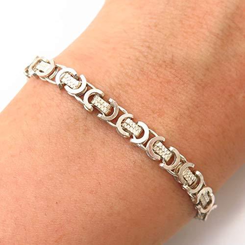 925 Sterling Silver Modernist Link Bracelet 7 3/4