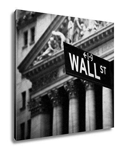 Ashley Canvas, Wall Street Sign In Lower Manhattan New York, Black and White, 32x32, AG5413519