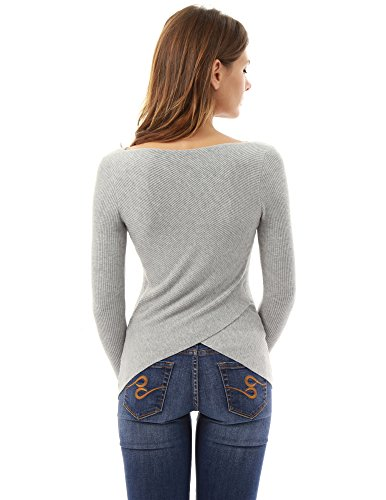 PattyBoutik-Womens-Boat-Neck-Ribbed-Asymmetrical-Sweater-Light-Gray-M
