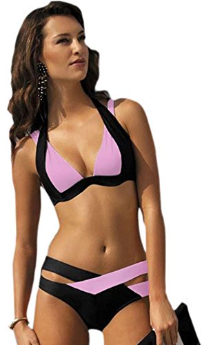 IF FEEL Womens Sexy Pink Black Double Color Criss-cross 2 Piece Padded Push Up Bandage Bikini (Best Swimming Costume For Large Bust)