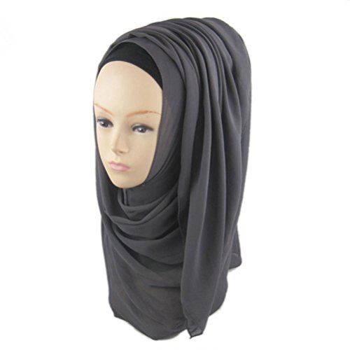 Solid color Fashion Scarf Chiffon Long Hijabs (Grey) - 4