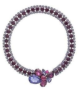 Cristal de Swarovski morado Diamante cristal broche broche Collar collar / collar de cristal de Swarovski de color morado con broche