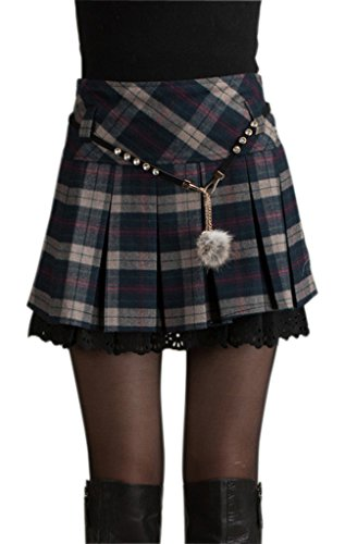 Chouyatou Women's A-Line Plaid Wool Blend Pleated Skirt Side Zipper Large (Purple Plaid Skirt)