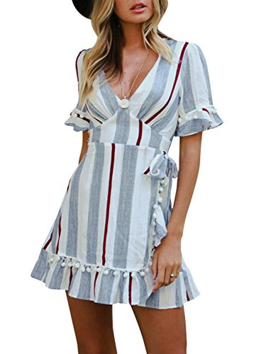 Simplee Women Sexy Deep V-Neck Short Sleeve Stripe Print Flare Short Mini Dress,Stripe Blue,8