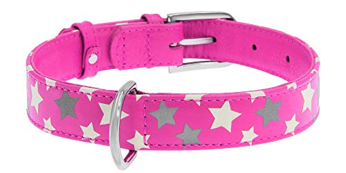 (WAUDOG Reflective Leather Dog Collar - Durable Dog Collars for Small Medium Large Dogs Puppy - Red Blue Pink Purple Green Black Safety - Soft Padded - Stars Plus (Medium 15