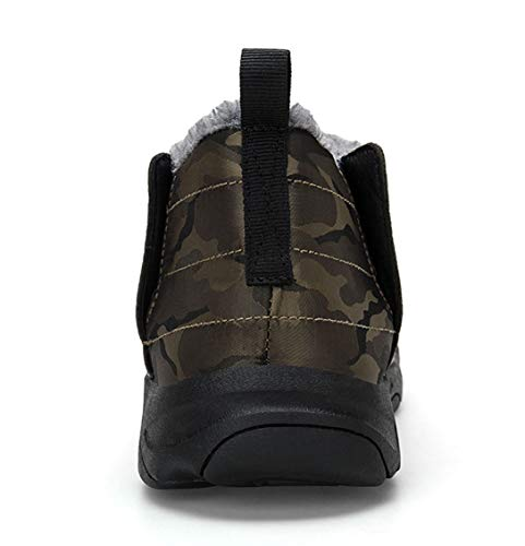 Mens Camouflage Slip-on Ankle Boots Fully Fur Lined Snow Boots Winter Warm Cotton Shoes by Weweya (Image #3)