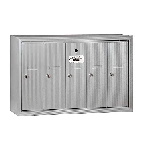Door Mailbox Commercial - Salsbury Industries 3505ASU Surface Mounted Vertical Mailbox with 5 Doors and USPS Access, Aluminum