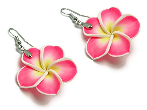 CHADADA Jewelry Hawaiian Fimo Plumeria Flower Dangle Earrings Handmade for Women, 30 mm (Hot Pink), EH28