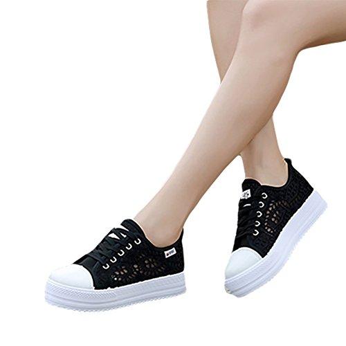 Primavera Planos Mujer Libre Zapatos Al Aire Minetom Zapatos de de Casuales Deportivos Negro Zapatos Lona Respirables 6CW7qHx