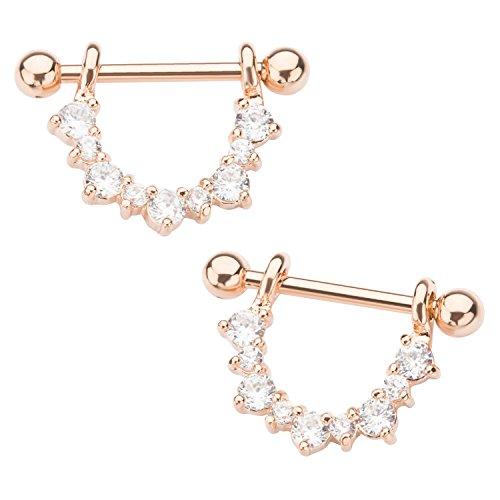 (Pierced Owl CZ Crystal Half Circle Dangling Nipple Barbells - Sold as a Pair (Rose Gold Tone))