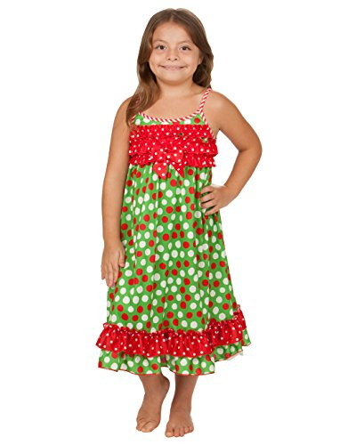 Laura Dare Little Girls Santa Dots Holiday Strappy Ruffle Nightgown, 6