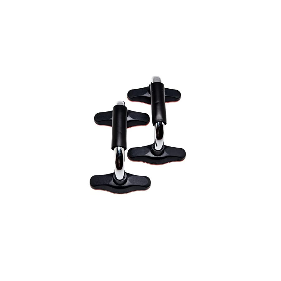Functional Fitness Matte Black Pushup Bars: Quality Built Metal Push Up Stands Perfects Push ups. Builds Arms, Back, Chest, and Shoulder Strength. Great for P90X Workouts, Crossfit, Calisthenics